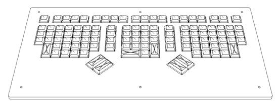 Line Drawing Keyboard : Maltron executive keyboard line drawings